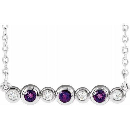 Genuine Amethyst Necklace in 14 Karat White Gold Amethyst & .08 Carat Diamond Bezel-Set Bar 16-18