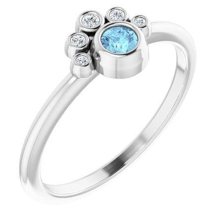 14 Karat White Gold Aquamarine & .04 Carat Weight Diamond Ring