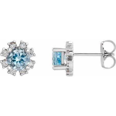 Genuine Aquamarine Earrings in 14 Karat White Gold Aquamarine & 1/2 Carat Diamond Earrings