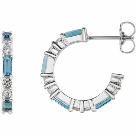 Genuine Aquamarine Earrings in 14 Karat White Gold Aquamarine & 1/2 Carat Diamond Earrings