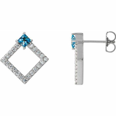 Genuine Aquamarine Earrings in 14 Karat White Gold Aquamarine & 1/3 Carat Diamond Earrings