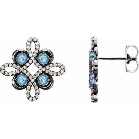Genuine Aquamarine Earrings in 14 Karat White Gold Aquamarine & 1/4 Carat Diamond Earrings