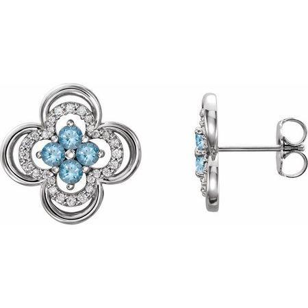 Genuine Aquamarine Earrings in 14 Karat White Gold Aquamarine & 1/5 Carat Diamond Clover Earrings