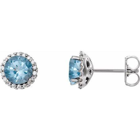 Genuine Aquamarine Earrings in 14 Karat White Gold Aquamarine & 1/6 Carat Diamond Earrings