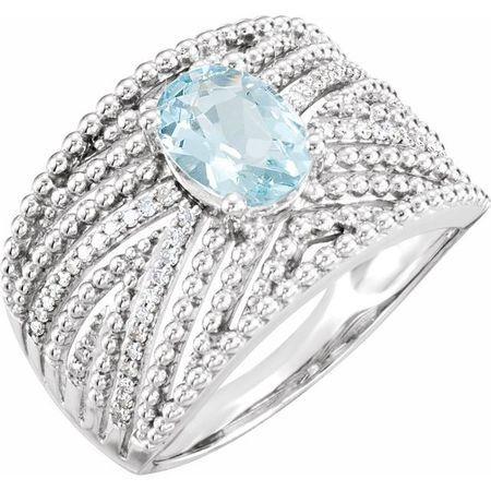 14 Karat White Gold Aquamarine & .17 Carat Weight Diamond Ring