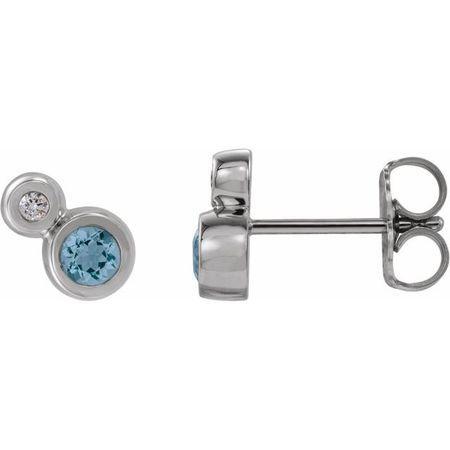 Genuine Aquamarine Earrings in 14 Karat White Gold Aquamarine & 1/8 Carat Diamond Earrings