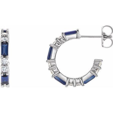 Genuine Sapphire Earrings in 14 Karat White Gold Genuine Sapphire & 1/2 Carat Diamond Earrings