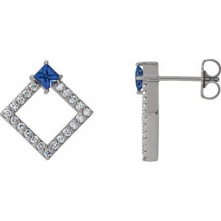 Genuine Sapphire Earrings in 14 Karat White Gold Genuine Sapphire & 1/3 Carat Diamond Earrings