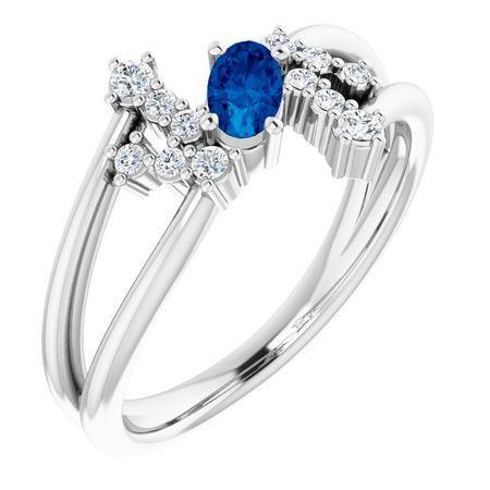 14 Karat White Gold Blue Sapphire & .125 Carat Weight Diamond Bypass Ring