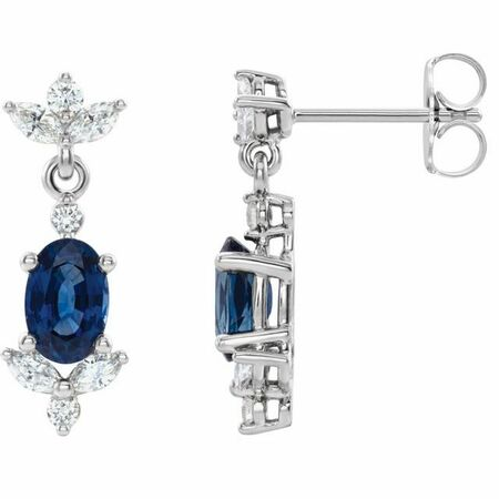 Genuine Sapphire Earrings in 14 Karat White Gold Genuine Sapphire & 3/8 Carat Diamond Earrings