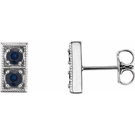 Genuine Sapphire Earrings in 14 Karat White Gold Genuine SapphireTwo-Stone Earrings