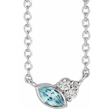 Genuine Zircon Necklace in 14 Karat White Gold Genuine Zircon & .03 Carat Diamond 18