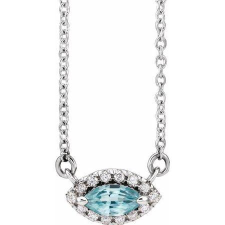 Genuine Zircon Necklace in 14 Karat White Gold Genuine Zircon & .05 Carat Diamond Halo-Style 18