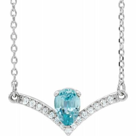Genuine Zircon Necklace in 14 Karat White Gold Genuine Zircon & .06 Carat Diamond 16