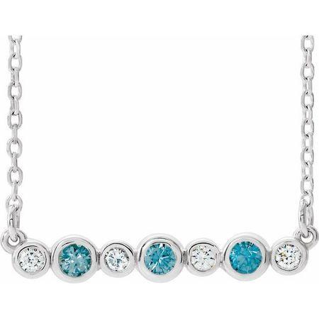 Genuine Zircon Necklace in 14 Karat White Gold Genuine Zircon & .08 Carat Diamond Bezel-Set Bar 16-18