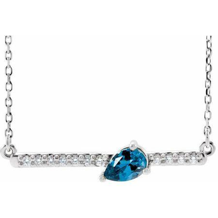 Genuine Zircon Necklace in 14 Karat White Gold Genuine Zircon & 1/10 Carat Diamond 18