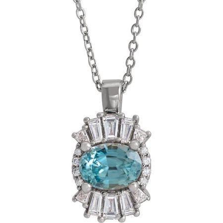Genuine Zircon Necklace in 14 Karat White Gold Genuine Zircon & 1/3 Carat Diamond 16-18