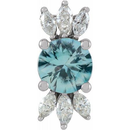 Genuine Zircon Pendant in 14 Karat White Gold Genuine Zircon & 1/4 Carat Diamond Pendant