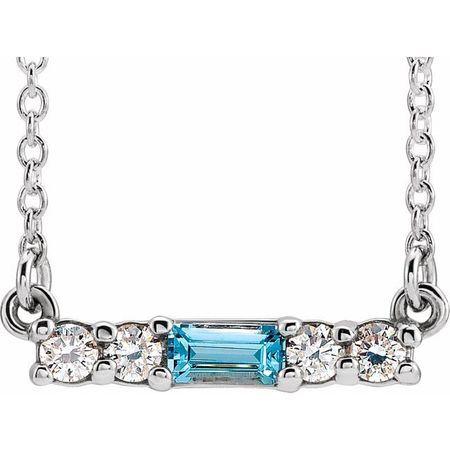 Genuine Zircon Necklace in 14 Karat White Gold Genuine Zircon & 1/5 Carat Diamond 18
