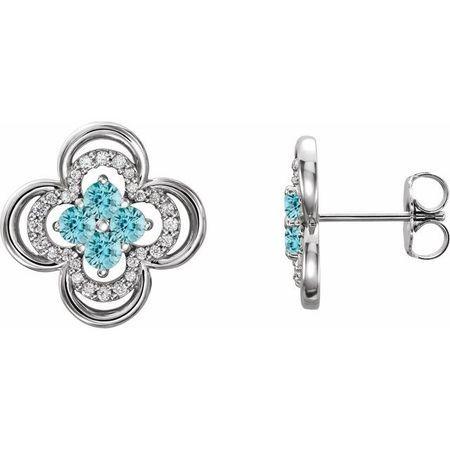 Genuine Zircon Earrings in 14 Karat White Gold Genuine Zircon & 1/5 Carat Diamond Clover Earrings