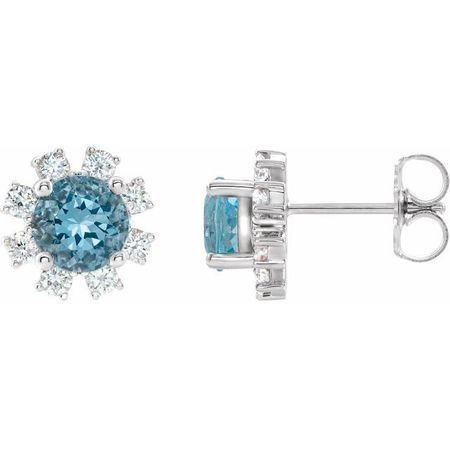 Genuine Zircon Earrings in 14 Karat White Gold Genuine Zircon & 1/5 Carat Diamond Earrings