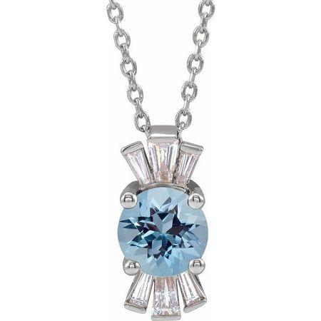 Genuine Zircon Necklace in 14 Karat White Gold Genuine Zircon & 1/6 Carat Diamond 16-18