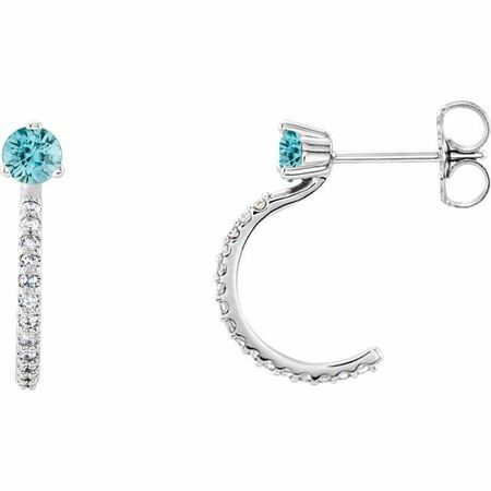 Genuine Zircon Earrings in 14 Karat White Gold Genuine Zircon & 1/6 Carat Diamond Hoop Earrings