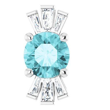 Genuine Zircon Pendant in 14 Karat White Gold Genuine Zircon & 1/6 Carat Diamond Pendant