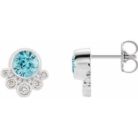 Genuine Zircon Earrings in 14 Karat White Gold Genuine Zircon & 1/8 Carat Diamond Earrings