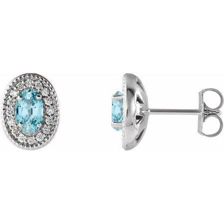 Genuine Zircon Earrings in 14 Karat White Gold Genuine Zircon & 1/8 Carat Diamond Halo-Style Earrings