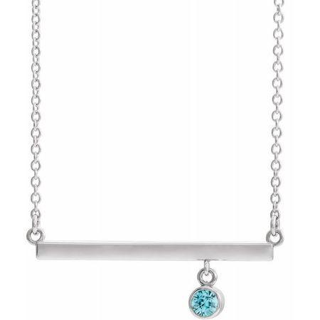 Genuine Zircon Necklace in 14 Karat White Gold Genuine Zircon Bezel-Set 18
