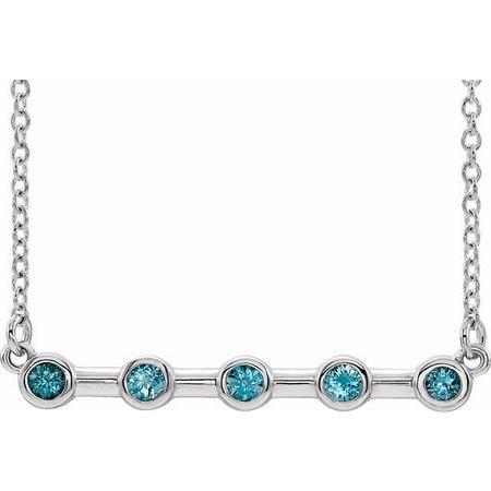 Genuine Zircon Necklace in 14 Karat White Gold Genuine Zircon Bezel-Set Bar 18