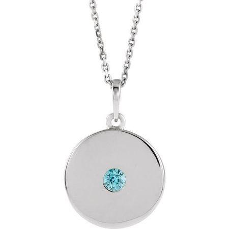 Genuine Zircon Necklace in 14 Karat White Gold Genuine Zircon Disc 16-18