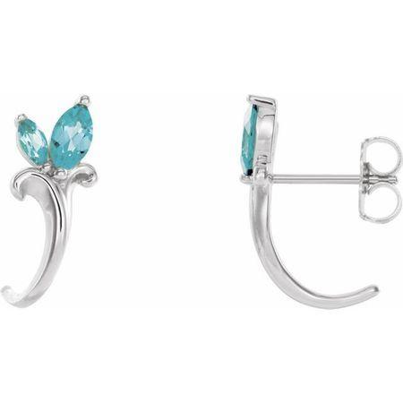 Genuine Zircon Earrings in 14 Karat White Gold Genuine Zircon Floral-Inspired J-Hoop Earrings