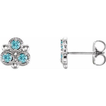 Genuine Zircon Earrings in 14 Karat White Gold Genuine Zircon Three-Stone Earrings