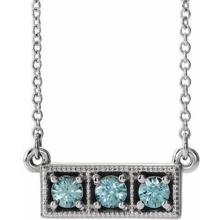 Genuine Zircon Necklace in 14 Karat White Gold Genuine Zircon Three-Stone Granulated Bar 16-18