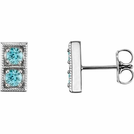 Genuine Zircon Earrings in 14 Karat White Gold Genuine ZirconTwo-Stone Earrings