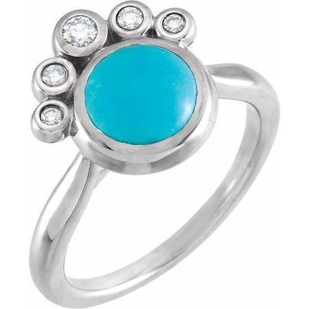 Genuine Turquoise Ring in 14 Karat White Gold Genuinebird Turquoise & .125 Carat Diamond Ring