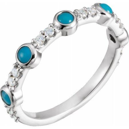 Genuine Turquoise Ring in 14 Karat White Gold Cabochon Turquoise & 0.2 Carat Diamond Ring