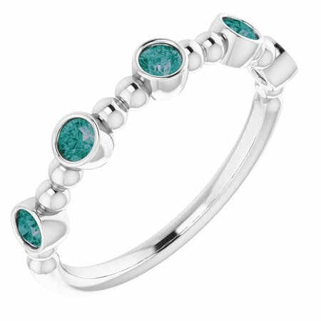 Chatham Created Alexandrite Ring in 14 Karat White Gold Chatham Created Alexandrite Stackable Beaded Ring