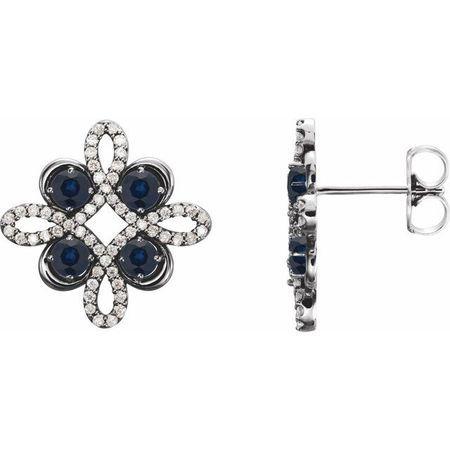 Created Sapphire Earrings in 14 Karat White Gold Chatham Created Genuine Sapphire & 1/4 Carat Diamond Earrings