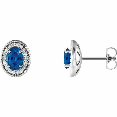 Created Sapphire Earrings in 14 Karat White Gold Chatham Created Genuine Sapphire & 1/5 Carat Diamond Halo-Style Earrings