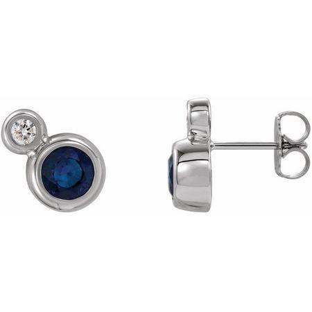Created Sapphire Earrings in 14 Karat White Gold Chatham Created Genuine Sapphire & 1/8 Carat Diamond Earrings