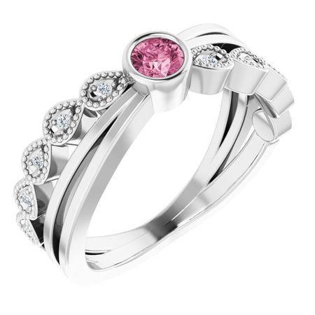 Pink Tourmaline Ring in 14 Karat White Gold Chatham Created Tourmaline & .05 Carat Diamond Ring
