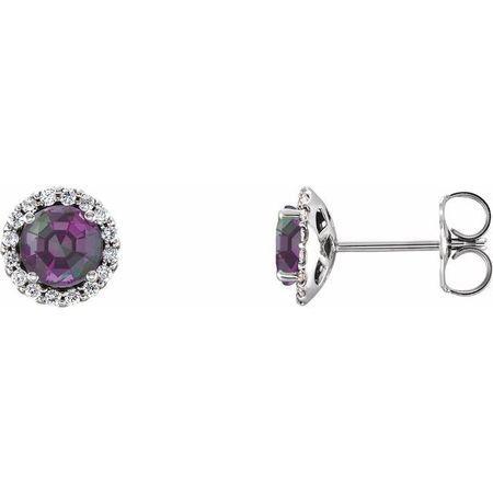 Genuine Alexandrite Earrings in 14 Karat White Gold Chatham Lab-Created Alexandrite & 1/8 Carat Diamond Earrings