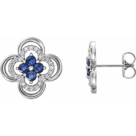 Created Sapphire Earrings in 14 Karat White Gold Chatham Lab-Created Genuine Sapphire & 1/5 Carat Diamond Clover Earrings