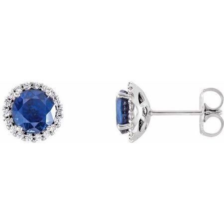 Created Sapphire Earrings in 14 Karat White Gold Chatham Lab-Created Genuine Sapphire & 1/6 Carat Diamond Earrings