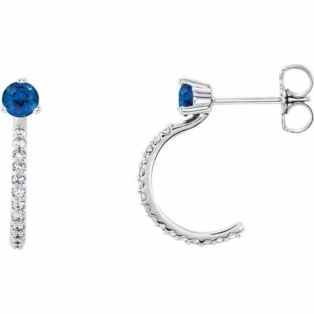 Created Sapphire Earrings in 14 Karat White Gold Chatham Lab-Created Genuine Sapphire & 1/6 Carat Diamond Hoop Earrings