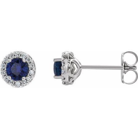 Created Sapphire Earrings in 14 Karat White Gold Chatham Lab-Created Genuine Sapphire & 1/6 Diamond Earrings