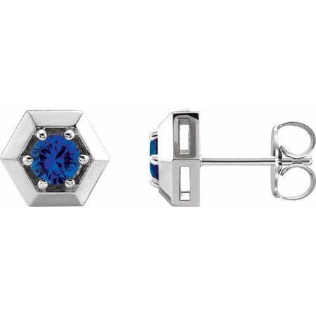 Created Sapphire Earrings in 14 Karat White Gold Chatham Lab-Created Genuine Sapphire Geometric Earrings